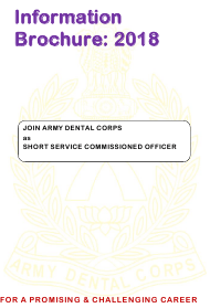 """""""Application Form for Grant of Short Service Commission in Army Dental Corps"""" - India, 2018"""