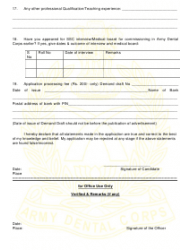 2018 Application Form for Grant of Short Service Commission in Army Dental Corps, Page 18