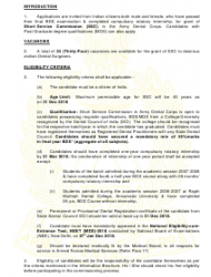 2018 Application Form for Grant of Short Service Commission in Army Dental Corps, Page 3