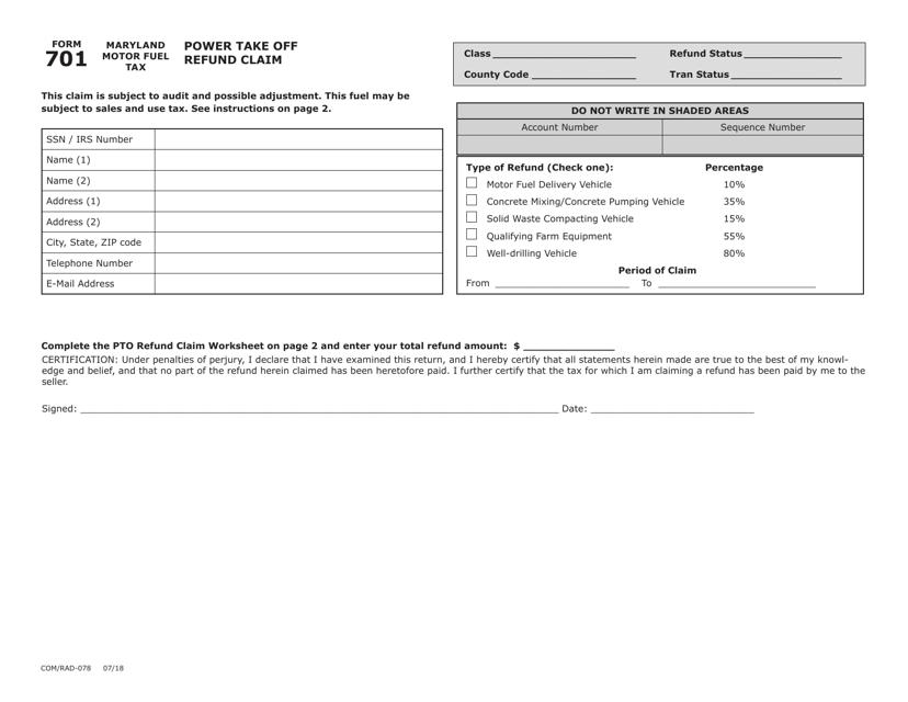 Form 701  Printable Pdf