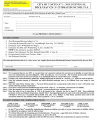 2018 Individual Declaration of Estimated Income Tax - City of Cincinnati, Ohio