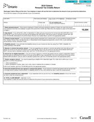 "Form TD1ON ""Ontario Personal Tax Credits Return"" - Ontario, Canada, 2018"