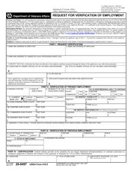 VA Form 26-8497 Request for Verification of Employment (Usda Form 410-5)