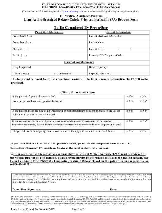 """""""Long Acting Sustained Release Opioid Prior Authorization (Pa) Request Form - Ct Medical Assistance Program"""" - Connecticut Download Pdf"""