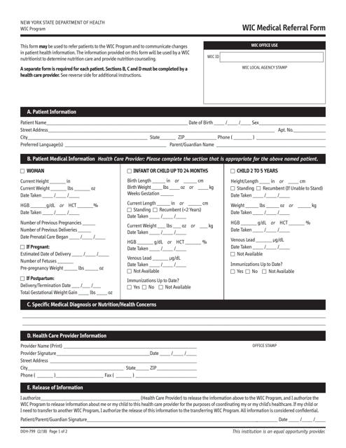 Form DOH-799 Printable Pdf