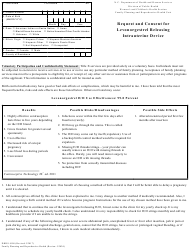 """Form DHHS4108 """"Request and Consent for Levonorgestrel Releasing Intrauterine Device"""" - North Carolina"""