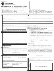 Form DL-503 Request for Driver Information - Pennsylvania
