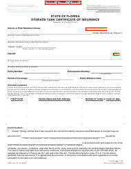 "DEP Form 62-761.900(3) ""Storage Tank Certificate of Insurance"" - Florida"