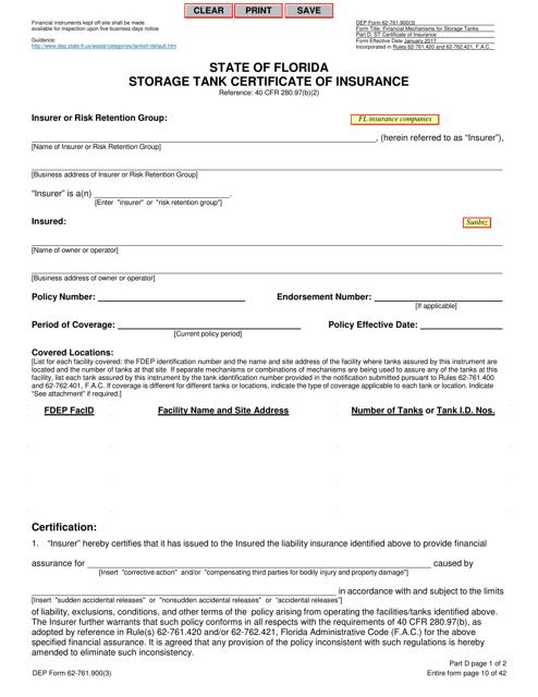 DEP Form 62-761.900(3)  Printable Pdf