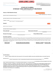 DEP Form 62-761.900(3) Storage Tank Certificate of Insurance - Florida