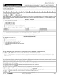 VA Form 21-0960E-1 Diabetes Mellitus Disability Benefits Questionnaire