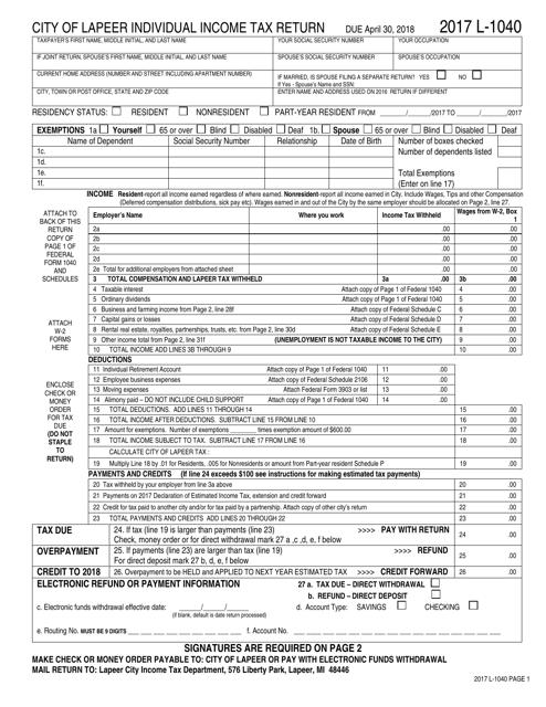 Form L-1040 Download Printable PDF 2017, Individual Income