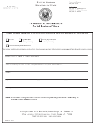 "Form SS984 ""Transmittal Information for All Business Filings"" - Louisiana"