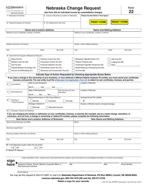 Form 22 Printable Pdf
