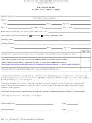 """Form OCC1229 """"Substitute Form (For Provider or Additional Adult)"""" - Maryland"""