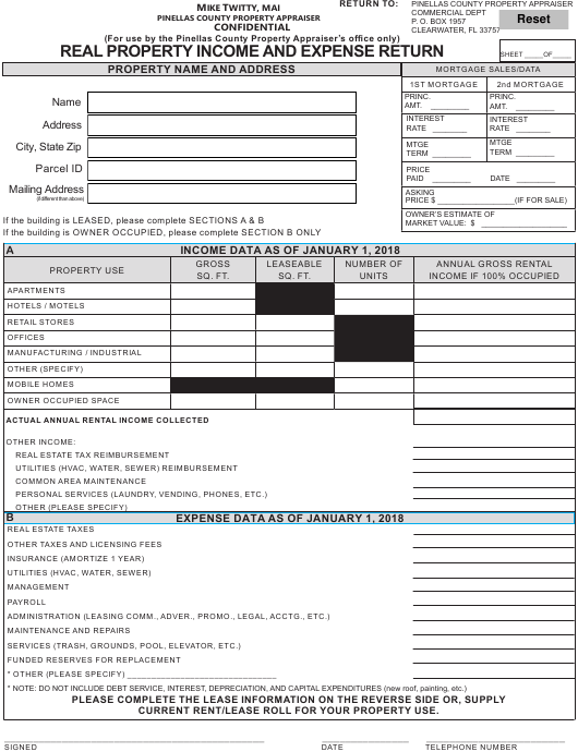 """""""Real Property Income and Expense Return Form"""" - PINELLAS COUNTY, Florida Download Pdf"""