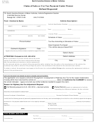 "Form MVR-609A ""Claim of Sales or Use Tax Payment Under Protest Refund Requested"" - North Carolina"