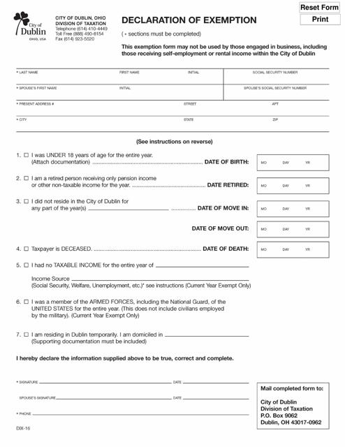 Form DIX-16  Printable Pdf