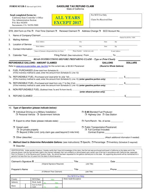 Form SCGR-1  Printable Pdf