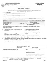 "Form LTC-81 ""Suspension Affidavit"" - Texas"
