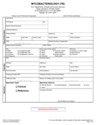 "Form DHHS1247 ""Mycobacteriology (Tb)"" - North Carolina"