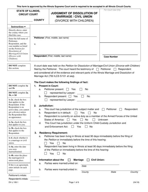 Form DV-J106.1  Printable Pdf