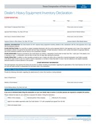 Form 50-265 Dealer's Heavy Equipment Inventory Declaration - Texas