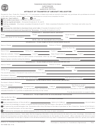 """Form RV-F1403901 """"Affidavit of Transfer of Aircraft/Helicopter"""" - Tennessee"""