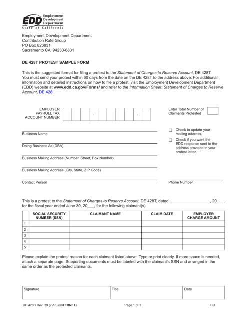 Form DE428C  Printable Pdf