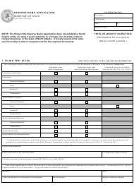 "Form SFN13015 ""Reserve Name Application"" - North Dakota"