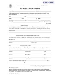 "Form RV-F1310501 ""Affidavit of Inheritance"" - Tennessee"