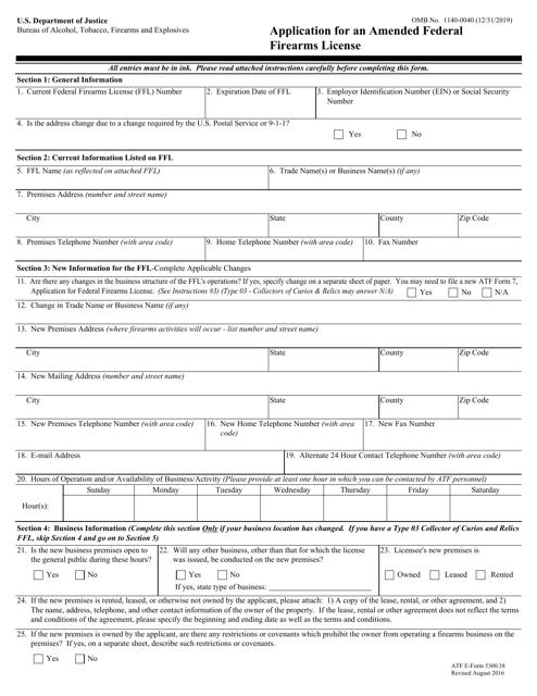 ATF Form 5300.38  Printable Pdf