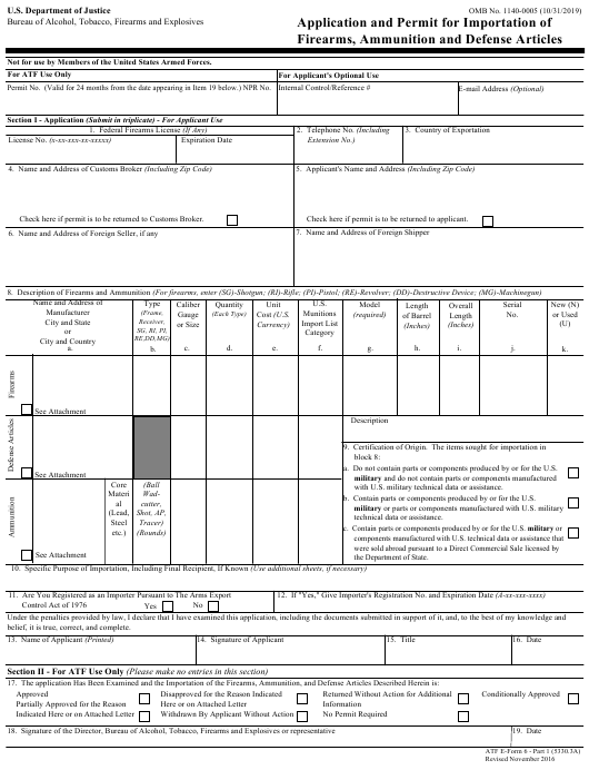 ATF Form 5330.3A (6) Part 1  Printable Pdf
