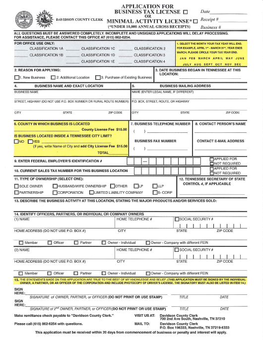 Application for Business Tax License or Minimal Activity License - Davidson county, Tennessee Download Pdf