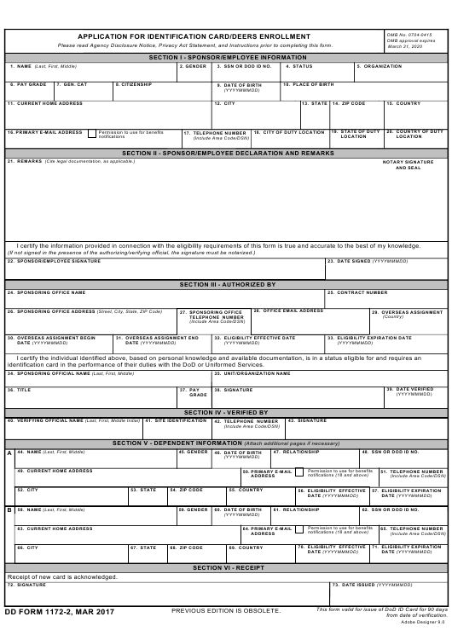 DD Form 1172-2 Fillable Pdf