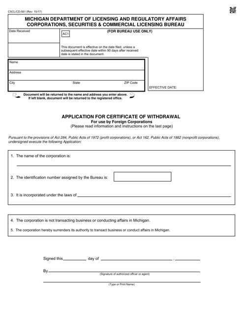 Form CSCL/CD-561  Printable Pdf
