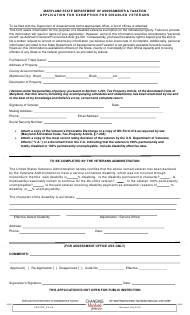 "Form SDATRP_EX-4A ""Application for Exemption for Disabled Veterans"" - Maryland"