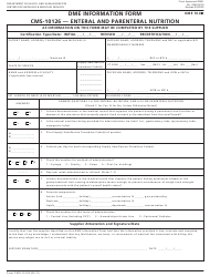 Form CMS-10126 Dme Information Form - Enteral and Parenteral Nutrition