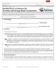 "Form F5188 ""Durable Power of Attorney for Securities and Savings Bonds Transactions - Treasurydirect"""