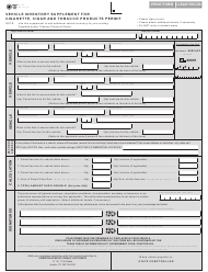 Form 69-122 Vehicle Inventory Supplement for Cigarette, Cigar and Tobacco Products Permit - Texas