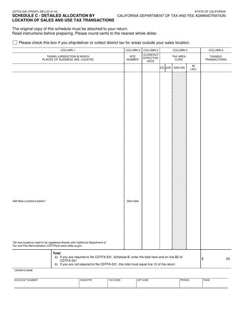 Form CDTFA-530 Schedule C Printable Pdf