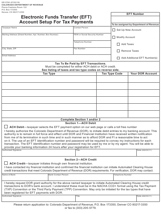 Form DR 5785 Fillable Pdf