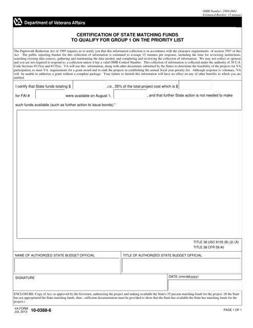 VA Form 10-0388-6 Fillable Pdf