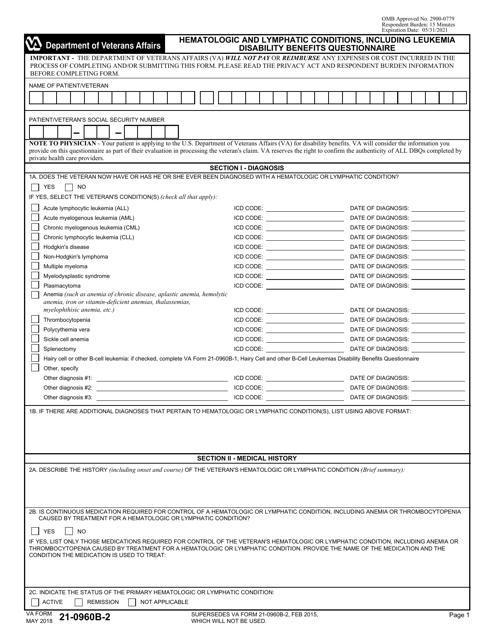 VA Form 21-0960B-2 Printable Pdf