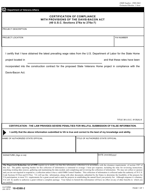 VA Form 10-0388-2  Printable Pdf