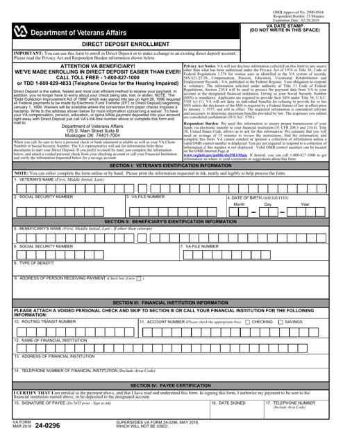 VA Form 24-0296 Fillable Pdf