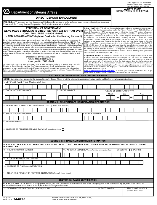 VA Form 24-0296 Fillable Pdf