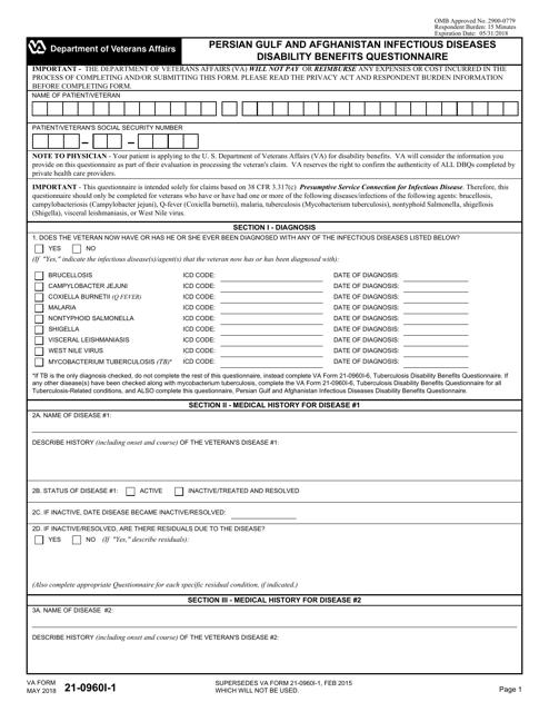 VA Form 21-0960I-1 Fillable Pdf