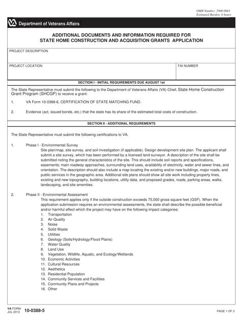 VA Form 10-0388-5 Fillable Pdf