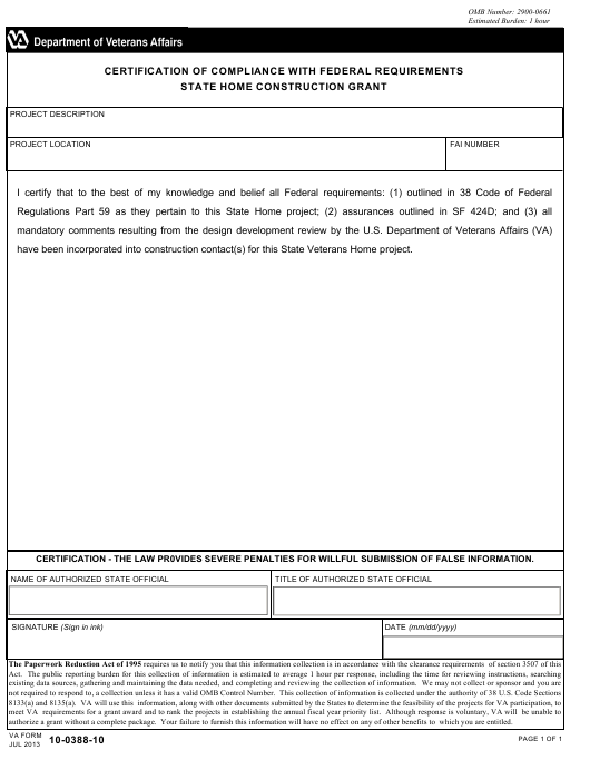 VA Form 10-0388-10 Fillable Pdf